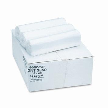 Good 'n Tuff High Density Waste Can Liners, 55-60 gal, .472mil, 38 x 58, Natural, 200/Carton