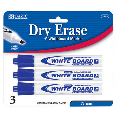 BAZIC Blue Chisel Tip Dry-Erase Markers (3/Pack)(Case of 144)