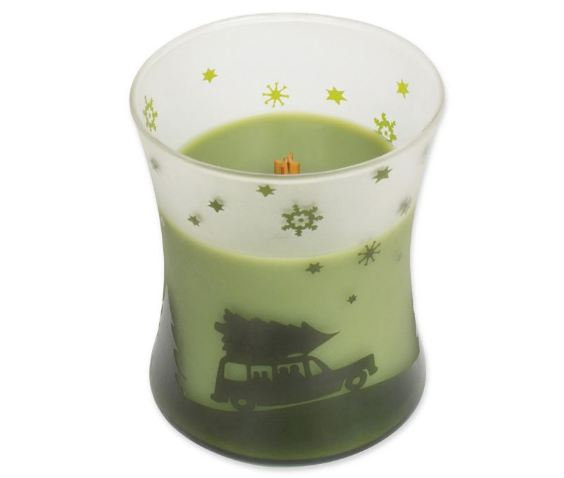 WoodWick® Scenic Hourglass Evergreen Jar Candle in Green