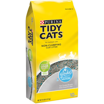 Purina Tidy Cats Non-Clumping Cat Litter with Glade Tough Odor Solutions for Multiple Cats 10 lb. Bag