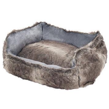 Paw Faux Fur Wolf Dog Bed Size: Medium (27