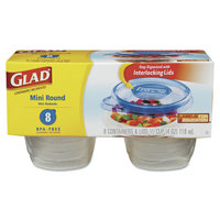 GladWare Mini-Round Food Container with Lid, 4 oz, Plastic, Clear, 12