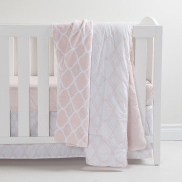 South Shore Pink and Gray 3 Piece Crib Bedding Set