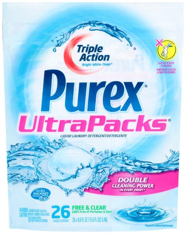 Purex® UltraPacks® Liquid Laundry Detergent Free & Clear 26 Loads 15.6 fl. oz. Bag