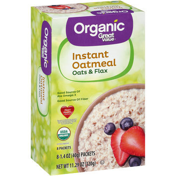 Great Value™ Organic Instant Oatmeal Oats & Flax 8-1.4 oz. Packets