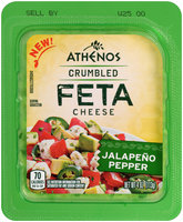 Athenos Crumbled Jalapeno Pepper Feta Cheese 4 oz. Tub