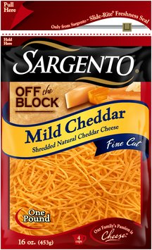 Sargento® Off the Block Mild Cheddar Fine Cut Shredded Cheese 16 oz. Bag