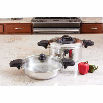 Chefs Secret Precise Heat 2 Piece 4 and 9 Quart Low Pressure Cooker Set
