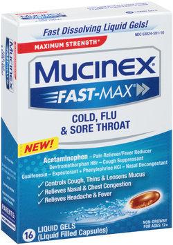 Mucinex® Fast-Max® Maximum Strength Cold, Flu & Sore Throat Liquid Gels 16 ct Box