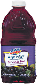 Special Value Grape Delight from Concentrate Beverage 64 Fl Oz Plastic Bottle