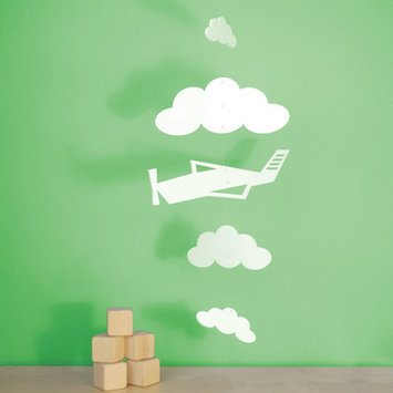 Trendy Peas Airplane and Clouds Mobile