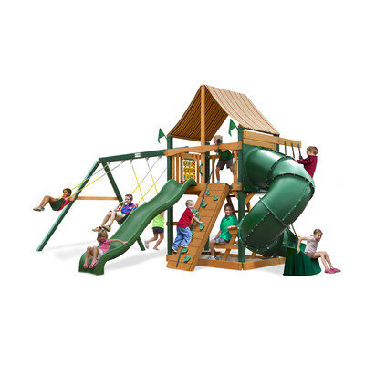 Gorilla Playsets Playground Equipment. Mountaineer with Amber Posts and Sunbrella Weston Ginger Canopy Cedar Playset