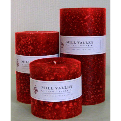 Mill Valley Candleworks 3 Piece Mulled Apple Cider Pillar Candle Set Size: 4