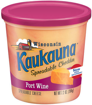 Kaukauna Port Wine  Spreadable Cheese 7.2 Oz Tub
