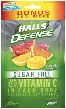 Halls Defense® Assorted Citrus Sugar Free Vitamin C Supplement Drops 30 ct Bag