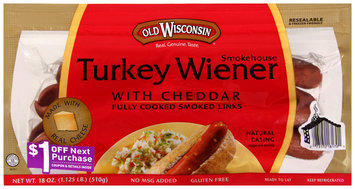 Old Wisconsin® Smokehouse Turkey Wiener with Cheddar 18 oz. Pack