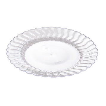 Fineline Settings, Inc Flairware Round Rippled Disposable Plastic Dessert Plate (180/Case), Clear