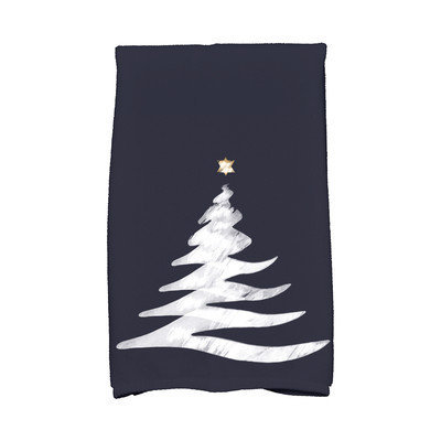 E By Design Holiday Wishes Wishing Tree Hand Towel Color: Blue