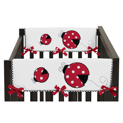 Sweet Jojo Designs Polka Dot Ladybug Side Crib Rail Guard Cover