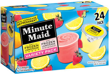 Minute Maid Soft Frozen Lemon & Strawberry Variety Pack 4 Fl Oz Cups Lemonade 24 Ct Box
