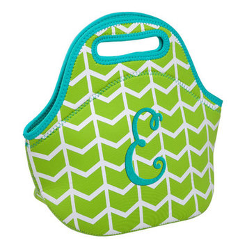 Occasionally Made Lime Geometric 'E' Insulated Lunch Bag
