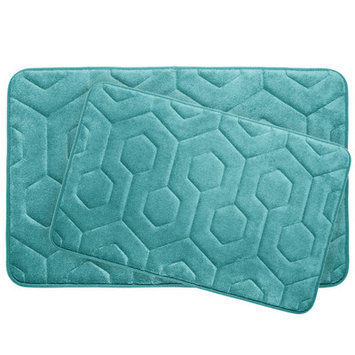 Bath Studio Hexagon 2 Piece Plush Memory Foam Bath Mat Set, Espresso