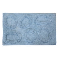 Textile Decor Castle 100% Cotton Pebble Spray Latex Back Bath Rug, 30 H X 20 W, Light Blue