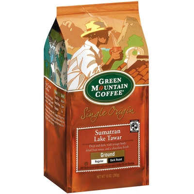 Green Mountain Coffee Roasters Ground Sumatran Lake Tawar Regular Dark Roast Single Origin Coffee 10 Oz Stand Up Bag