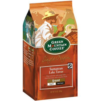 Green Mountain Coffee Roasters Ground Sumatran Lake Tawar Regular Dark Roast Single Origin Coffee 10 Oz Stand Up Bag