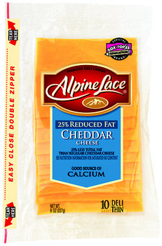 Alpine Lace® Cheddar Reduced Fat Slices Yellow Deli Cheese 8 Oz Shingle Pack