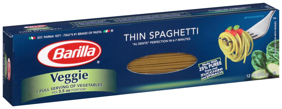 Barilla® Veggie Thin Spaghetti Pasta 12 oz. Box