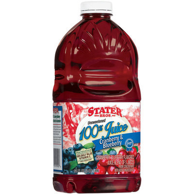 Stater Bros. Cranberry & Blueberry Unsweetened Juice 64 Fl Oz Plastic Bottle