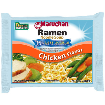 Maruchan® 35% Less Sodium Chicken Flavor Ramen Noodle Soup 3 oz. Bag