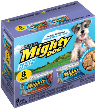 Purina Mighty Dog Thick-Sliced Beef in Gravy & Thick-Sliced Chicken in Gravy Dinners 8-5.5 oz. Cans