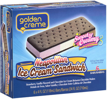 Golden Creme Neopolitan Ice Cream Sandwich 6 ct 4 fl oz.