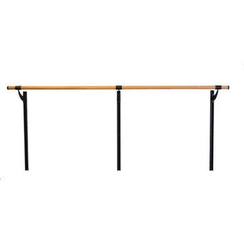 Vitavibe Wall Barre Series Traditional Wood Single Bar Adjustable Height Ballet Barre Kit Size: 5 ft.