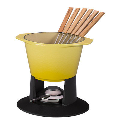 Le Creuset Enameled Cast-Iron Traditional Fondue Pot, 1-3/4-Quart, Soleil