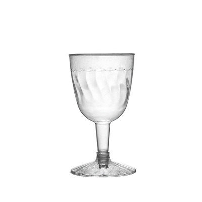 Fineline Settings, Inc Flairware Rippled Disposable Plastic 2 Piece 5 oz. Wine Goblet (360/Case)