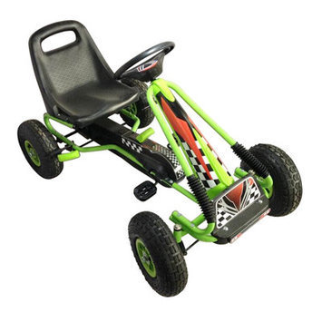 Merske Vroom Rider Green Racing Pedal Go-Kart with Pneumatic Tire