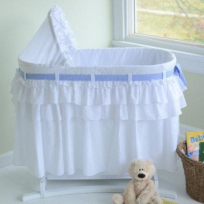 Lamont Home Goodnight Baby Bassinet with Full Skirt, White