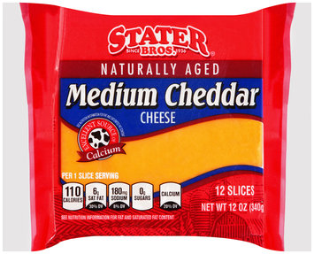 Stater Bros.® Medium Cheddar Cheese 12 ct. Slices.