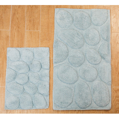 Textile Decor Castle 2 Piece 100% Cotton Palm Spray Bath Rug Set, 24 H X 17 W and 34 H X 21 W, Light Blue