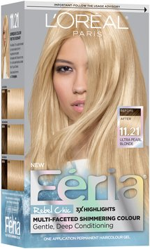 im learning all about loral paris feria rebel chic 1121 ultra pearl blonde hair color 1 kit box at influenster - Coloration L Oreal Blond