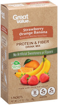 Great Value™ Strawberry Orange Banana Protein & Fiber Drink Mix 5 ct. Packets