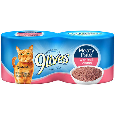 9Lives Meaty Pate with Real Salmon Wet Cat Food, 4/5.5-Ounce Cans (Pack of 6)