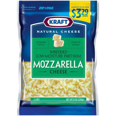 Kraft Natural Cheese Shredded Low-Moisture Part-Skim Cheese 8 oz. ZIP-PAK®