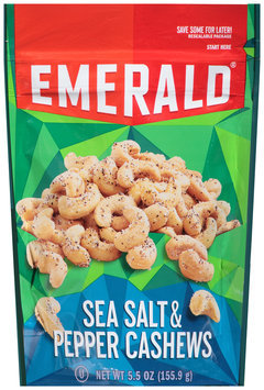 Emerald® Sea Salt & Pepper Cashews 5.5 oz. Bag