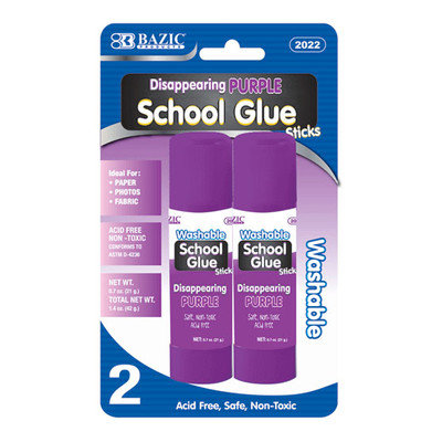 BAZIC 21g / 0.7 Oz. Lg. Washable Purple Glue Stick