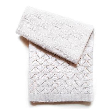 Esteffi Florence Wool Blend Baby Blanket (Set of 2) Color: Ivory