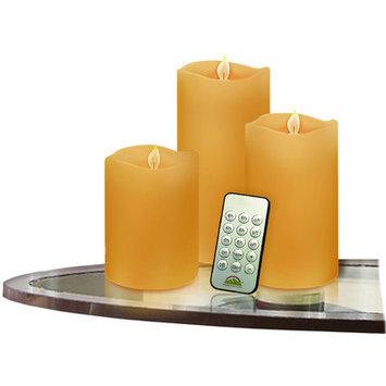 Wbm Llc 3 Piece Vanilla Pillar Candle Set with Remote Control